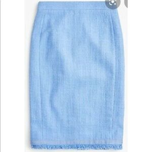 NWT J. Crew light blue tweed pencil skirt